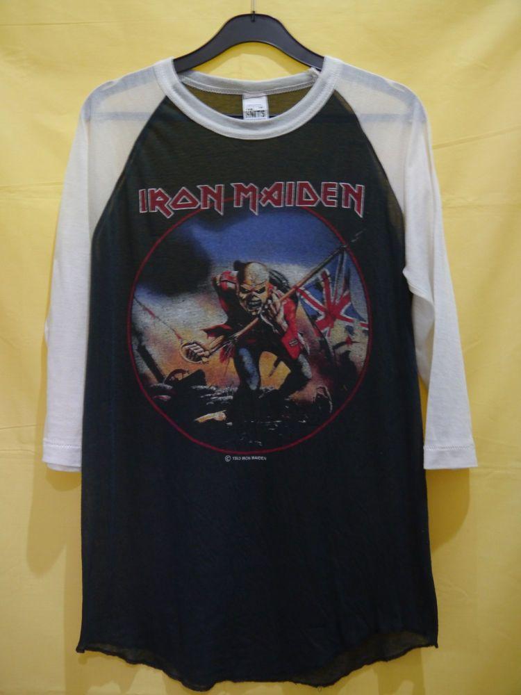 vintage RARE 1983 IRON MAIDEN THE TROOPER t-shirt jersey RAGLAN 80s soft  thin M  TheKnits  34Sleeve d077fee6700