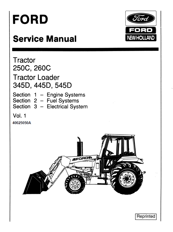 Ford 250c 260c 345d 445d 545d Tractor Service Manual Tractors Repair Manuals New Holland