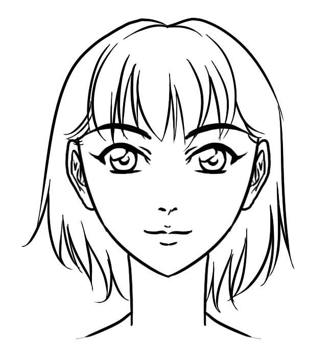 manga anime face front drawing coloring