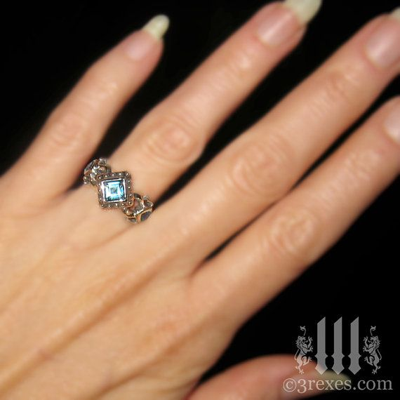 Silver Engagement Ring Blue Topaz Royal Princess by 3RexesJewelry, $120.00