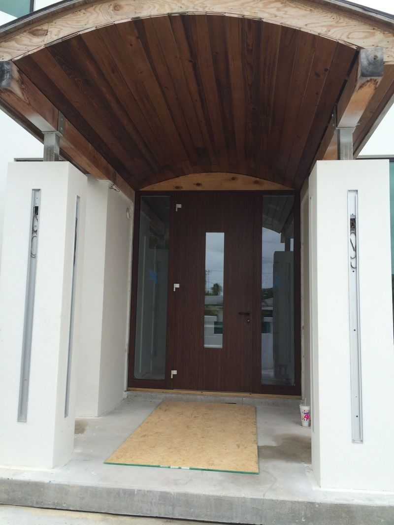 Picture Modern Entry Door - aluminum door with wood design. Entry door with two sidelights & Picture Modern Entry Door - aluminum door with wood design. Entry ...