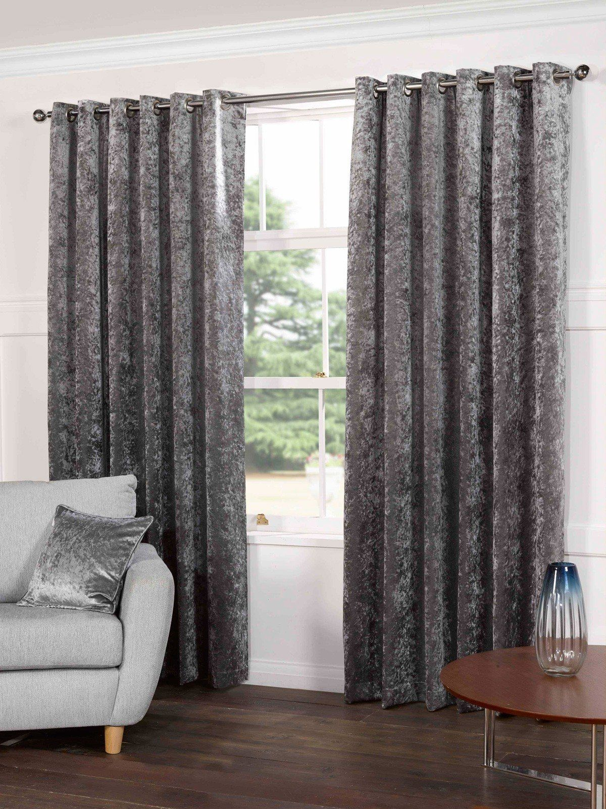 Luxury Crushed Velvet Silver Eyelet Ring or Pencil Pleat Fully Lined Curtains