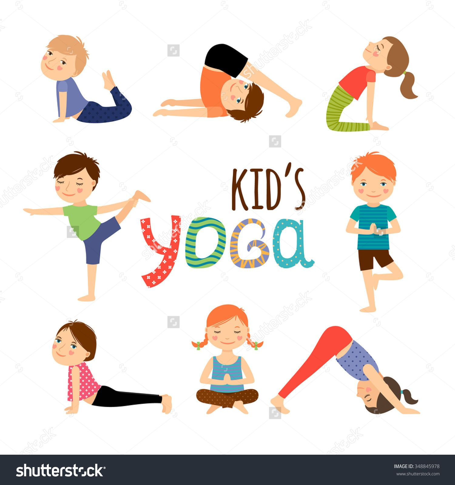 Yoga Kids Set Gymnastics For Children And Healthy Lifestyle Vector Illustration