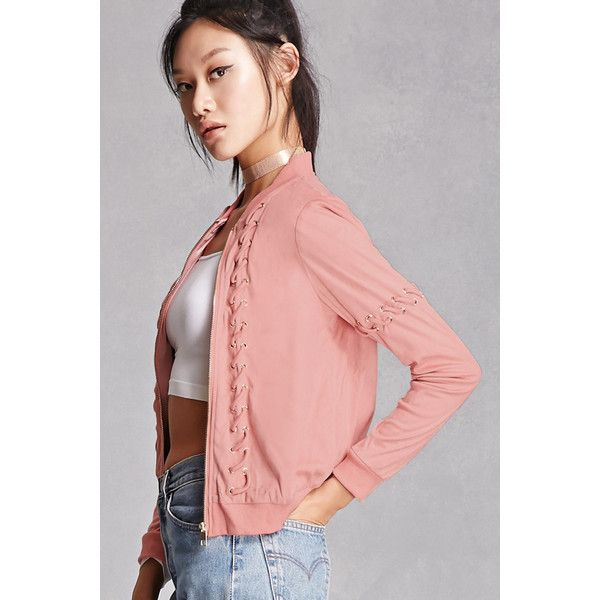 Forever21 Faux Suede Bomber Jacket (105 BRL) ❤ liked on Polyvore featuring outerwear, jackets, mauve, zip front jacket, forever 21, lightweight jackets, red jacket and light weight jacket