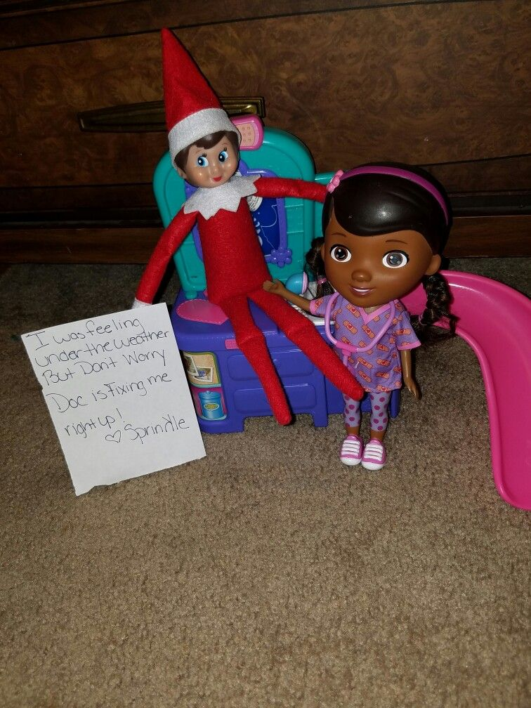 doc mcstuffins is here to help.  Elf On the shelf. 2016