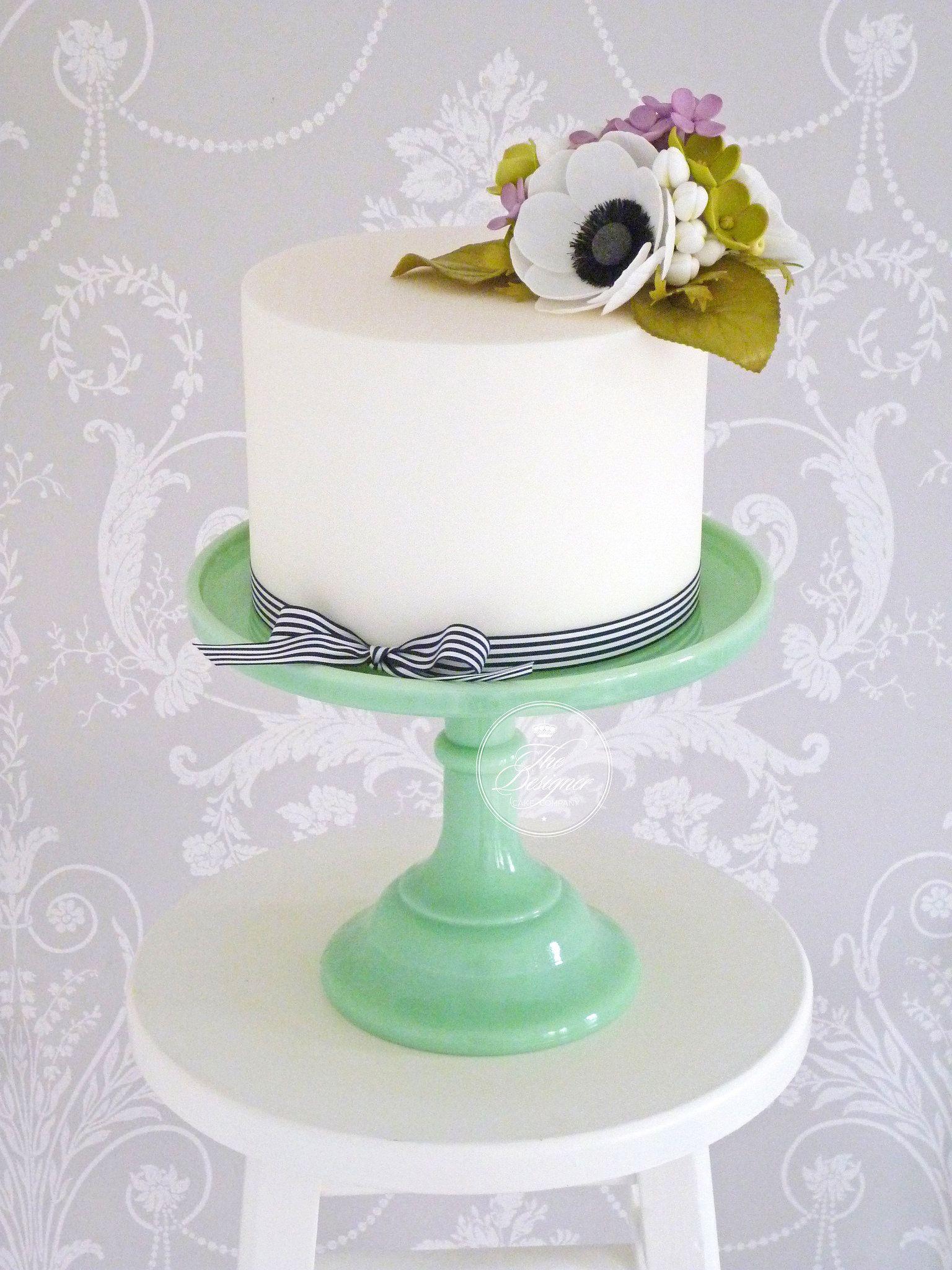 Anemone u lilac cake logos single tier cake and cake
