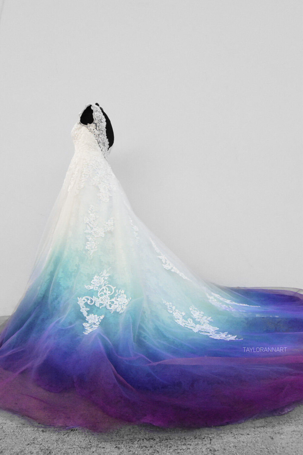 Teal Blue Purple Ombre Wedding Dress Dip Dye Style Colorful Gown In 2020 Ombre Wedding Dress Dye Wedding Dress Bridal Gowns