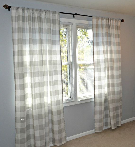 Grey Buffalo Check Curtain Panels Drapes Anderson French Gray And White Large Gingham Gray 25 Or 50 W Curtains French Country Living Room Panel Curtains