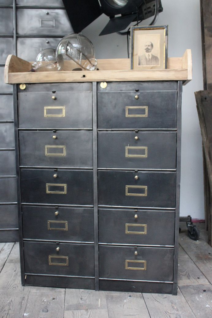 Ancien meuble console 10 casiers industriel a clapet roneo 1940 meuble d co meuble meuble - Meuble a casier ...