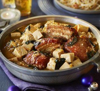 Braised pork belly with Thai basil & tofu