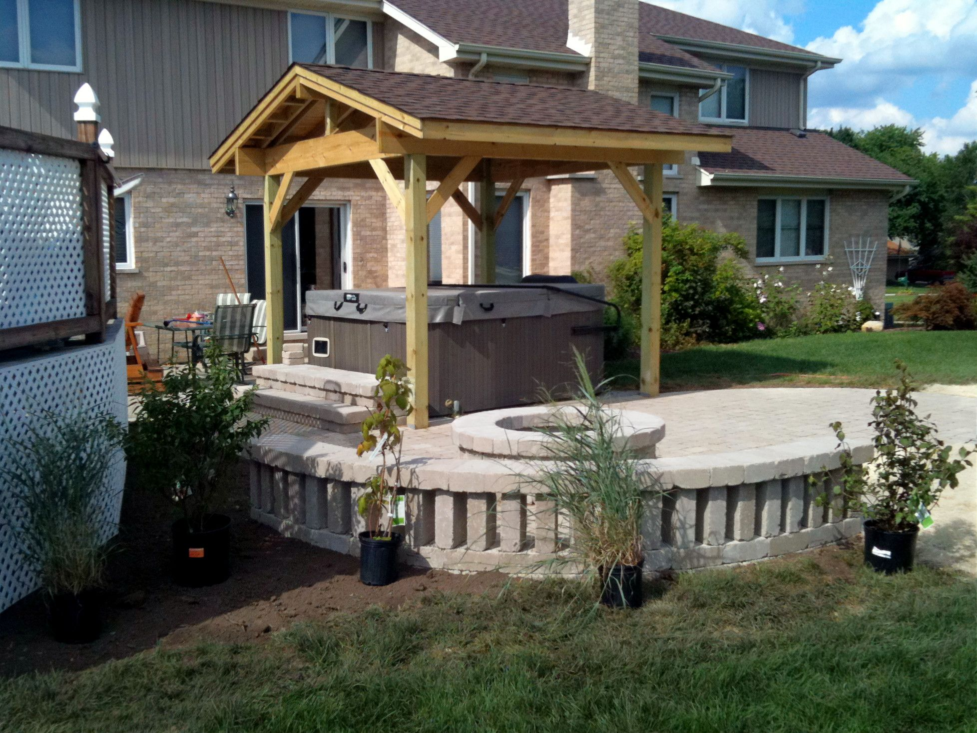 Unilock Patio Design With Fire Pit And Hot Tub By Homer Glen, IL Patio  Builder
