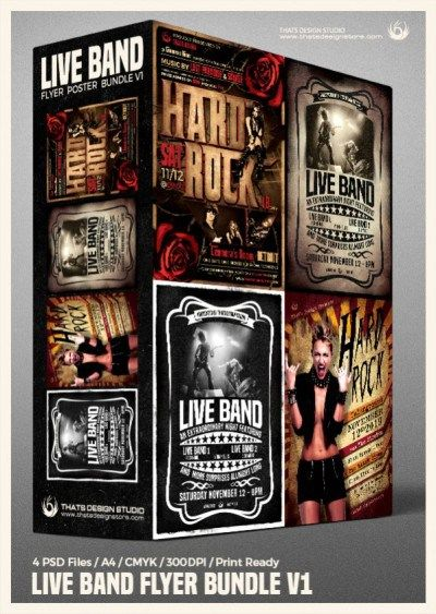 Band Flyers Psd Templates Design Bundle to download V1 Psd - band flyer template