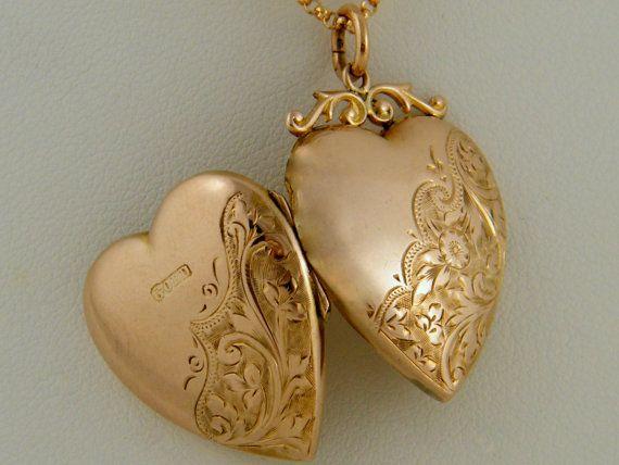 C 1910 9k Antique Gold Locket Vintage Art Nouveau Fl Motif Rose Heart Photo Necklace Gift On Etsy 500 00