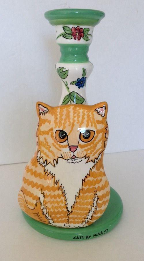 "Orange Candlestick Cat by Nina Figurine 10"" | eBay"