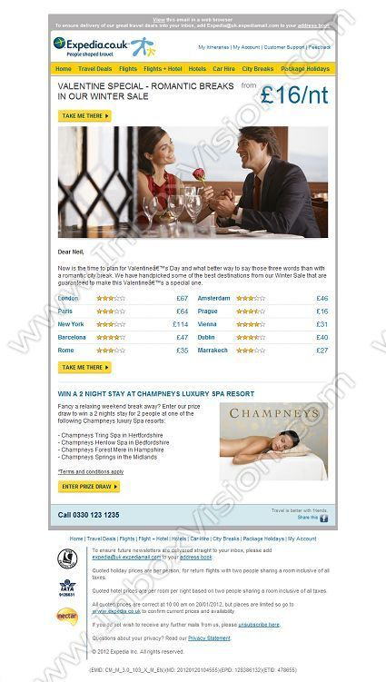 Company:    Expedia.co.uk   Subject:    Valentine Breaks in our Winter Sale from GBP16/nt             INBOXVISION is a global database and email gallery of 1.5 million B2C and B2B promotional emails and newsletter templates, providing email design ideas and email marketing intelligence www.inboxvision.com/blog  #EmailMarketing #DigitalMarketing #EmailDesign #EmailTemplate #InboxVision  #SocialMedia #EmailNewsletters