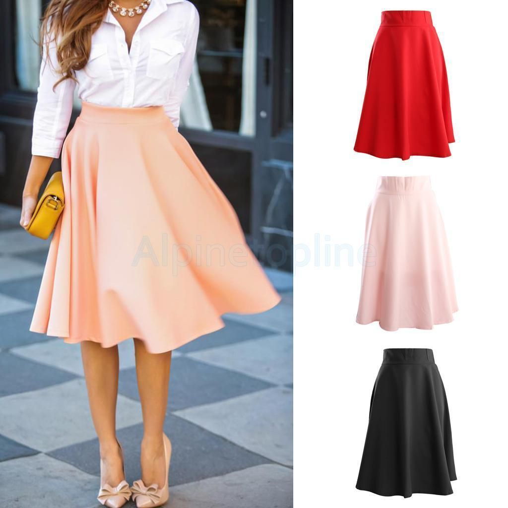 Vintage High Waist Solid Color Big Swing Ol Midi Skirt