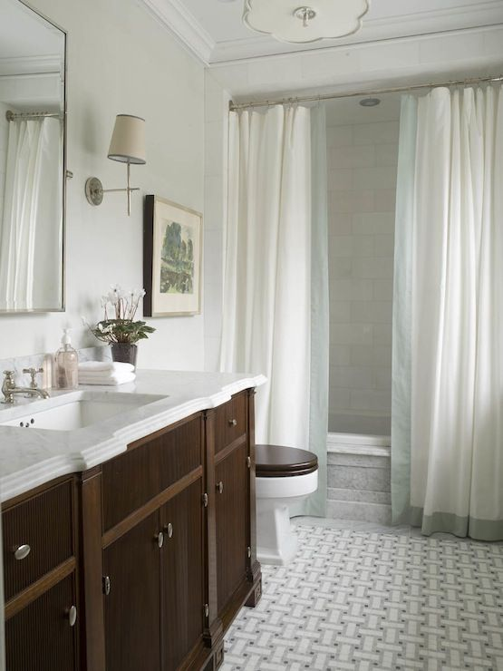 Phoebe Howard: Elegant Bathroom Design With Marble Basketweave Tiles Floor,  Wood Bathroom Vanity With. Two Shower CurtainsDouble ...