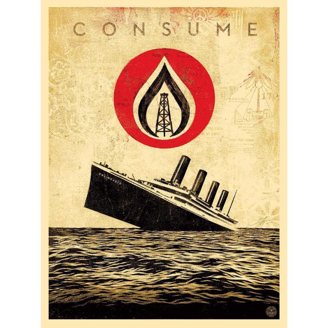 Unsinkable Consumption - available Wednesday, Sept. 9th on ObeyGiant.com between 10am and 11am PDT. #ObeyGiant #Obey #Print #ShepardFairey