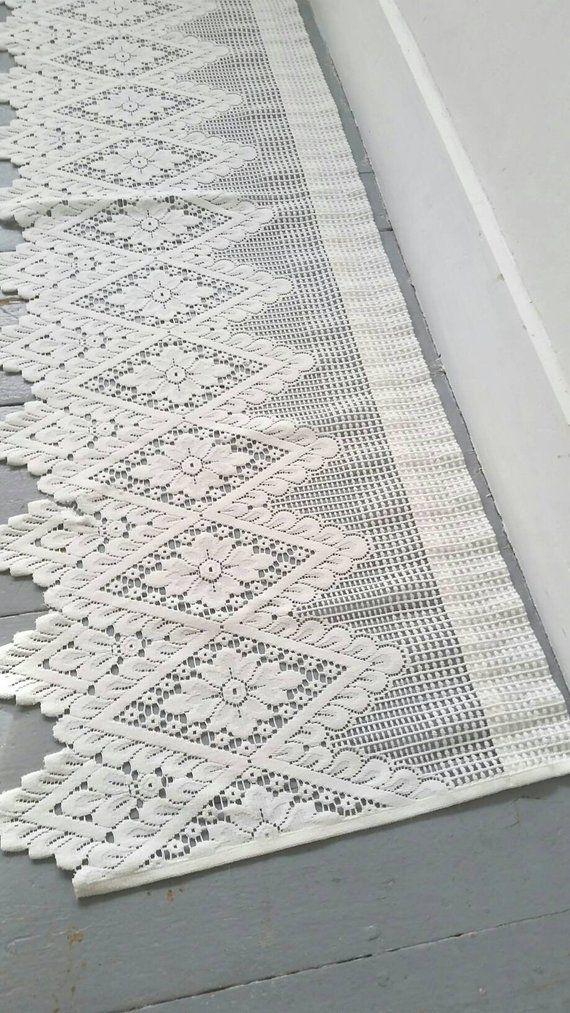 Large White Lace Window Curtain Vintage Lace Curtain Large White