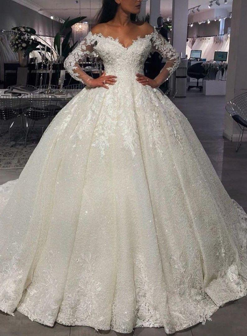 Luxus Brautkleider Prinzessin Mit Glitzer  Hochzeitskleider Mit