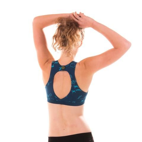 1ea54297ff352 £33 SATURN Hunt - Eco Sports Bra in Eclipse Blue for Big Boobs or Small  Boobs. Made from organic cotton.