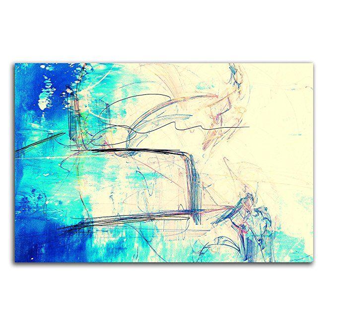 Wandbild türkis blau creme 120x80cm Abstrakt260 Abstrakte Bilder und - wohnzimmer creme rot