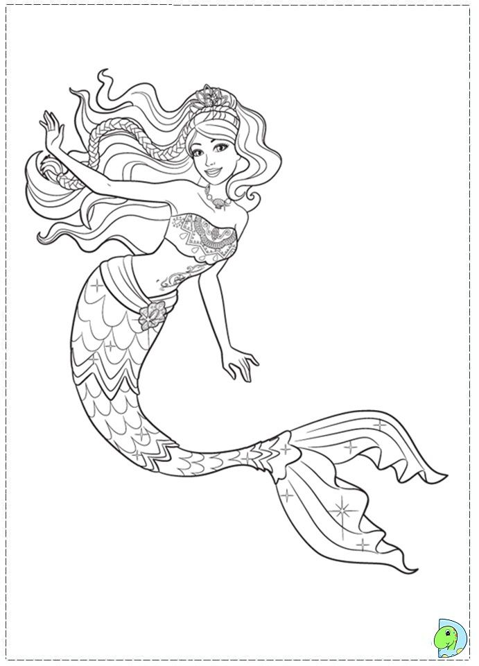 Barbie In A Mermaid Tale Coloring Page- DinoKids.org Mermaid Coloring, Mermaid  Coloring Book, Barbie Coloring Pages
