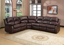 BROWN BONDED LEATHER RECLINING SOFA 4 (FOUR) RECLINER SECTIONAL FURNITURE  SET