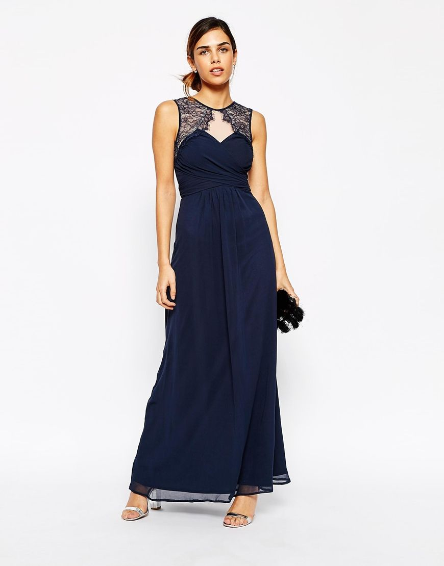 Image of elise ryan ruched bodice maxi dress with eyelash lace