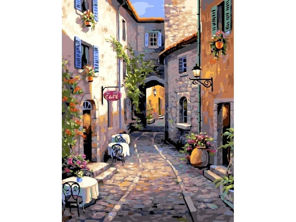 Картина по номерам «Тихая улочка» | Краска, Картины, Пейзажи