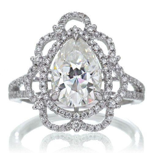 White Gold Vintage Victorian Design Pear Shape Moissanite Diamond Halo Engagement Bridal Anniversary RHR Ring on Etsy, $2,325.00