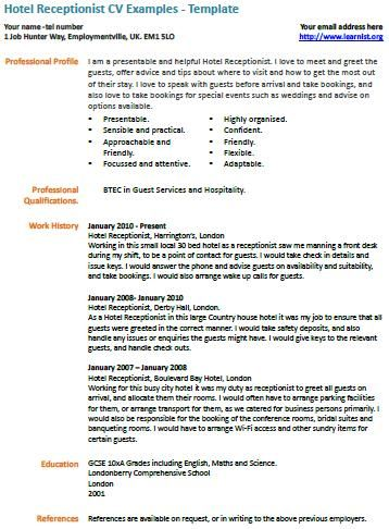Hotel Receptionist Cv Example Work Resumes Etc Cv