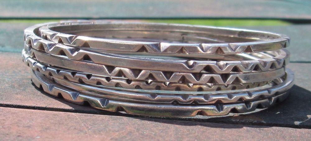 Vintage Taxco Villasana Sterling Silver Set Bangle Bracelet Mexico #Villasana