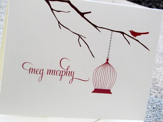 Personalized Stationery Notecards Bird with Cage by camispaperie, $16.95 on Etsy