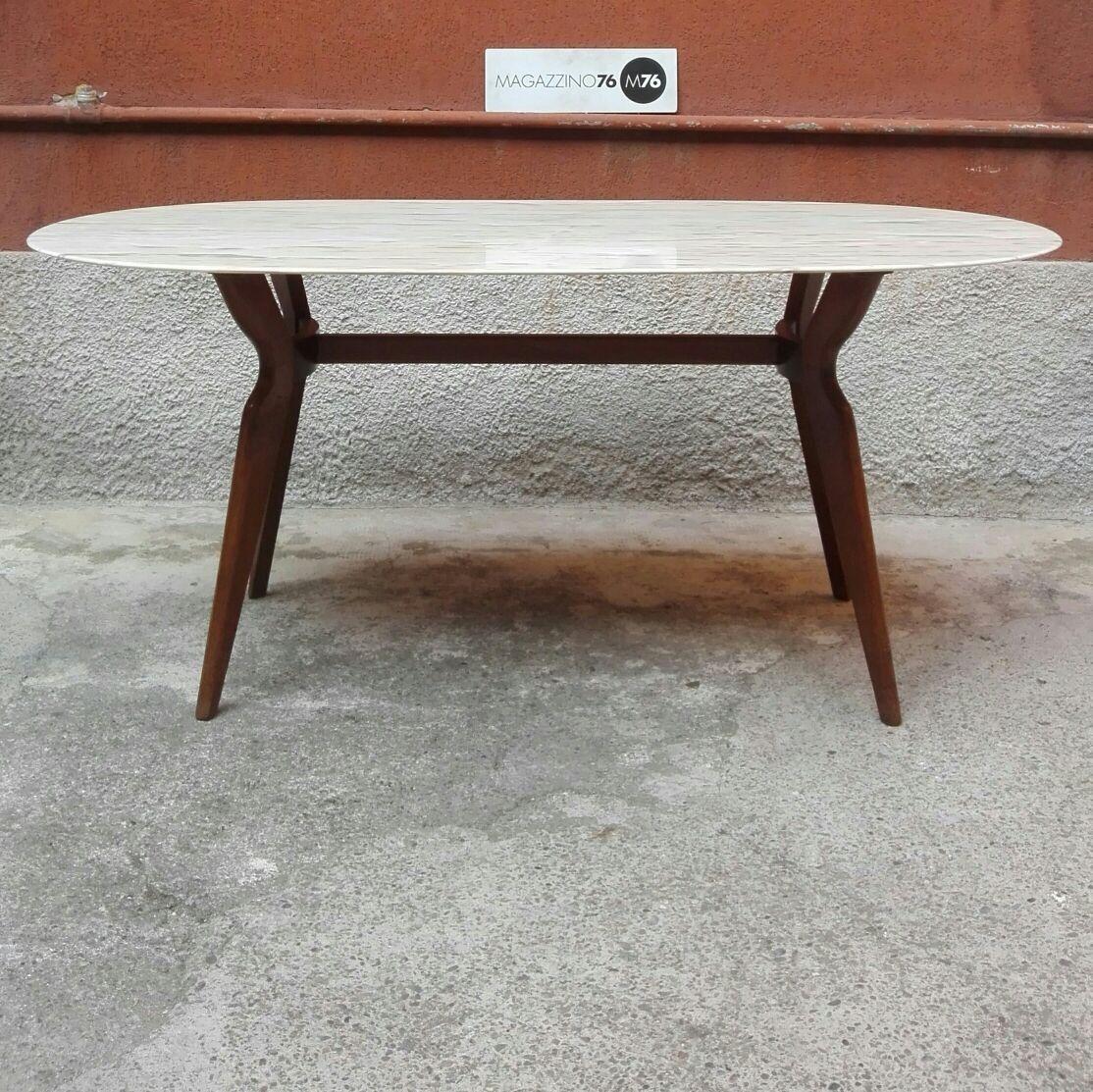 Tavolo anni 50 con zampa in legno e piano in marmo. Misure ...