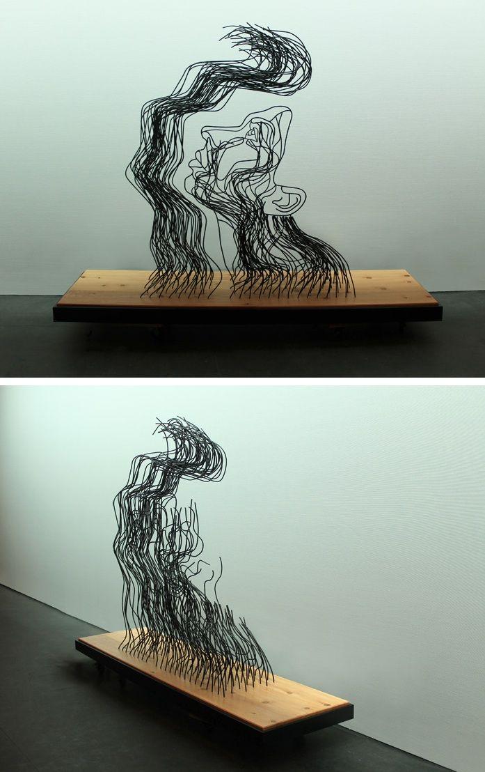 New Steel Wire Sculpture Illusion by Gavin Worth | Collage, Struktur ...