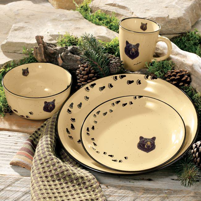 Black Bear Head Dinnerware Set - 16 pcs & Black Bear Head Dinnerware Set - 16 pcs | Kitchen | Pinterest ...