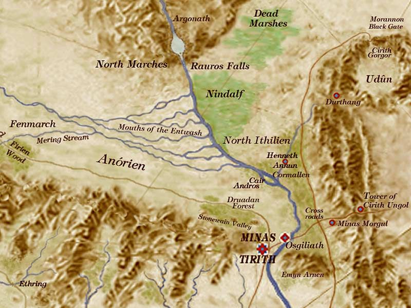 Map of the Anduin, Middle Earth's most famous river. This is the