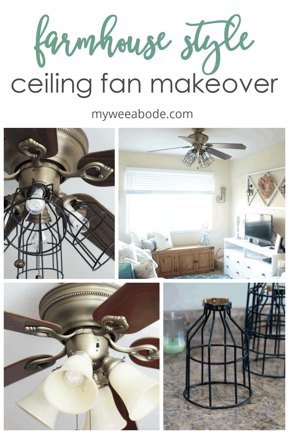 Ceiling Fan Makeover Farmhouse Style - my wee abode