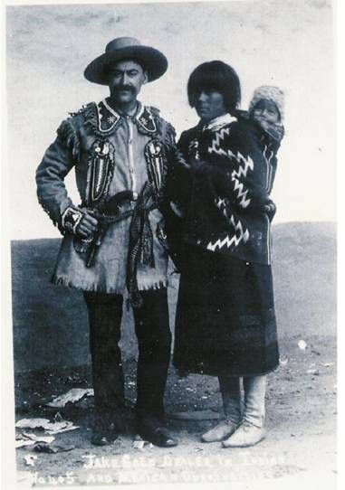 Jacob Gold and an unidentified Pueblo woman and baby, 19th century. Jake Gold was one of the first Jews to settle in Santa Fe, NM and was primarily responsible for the selling and distributing of the pottery made by the Pueblo Indians.