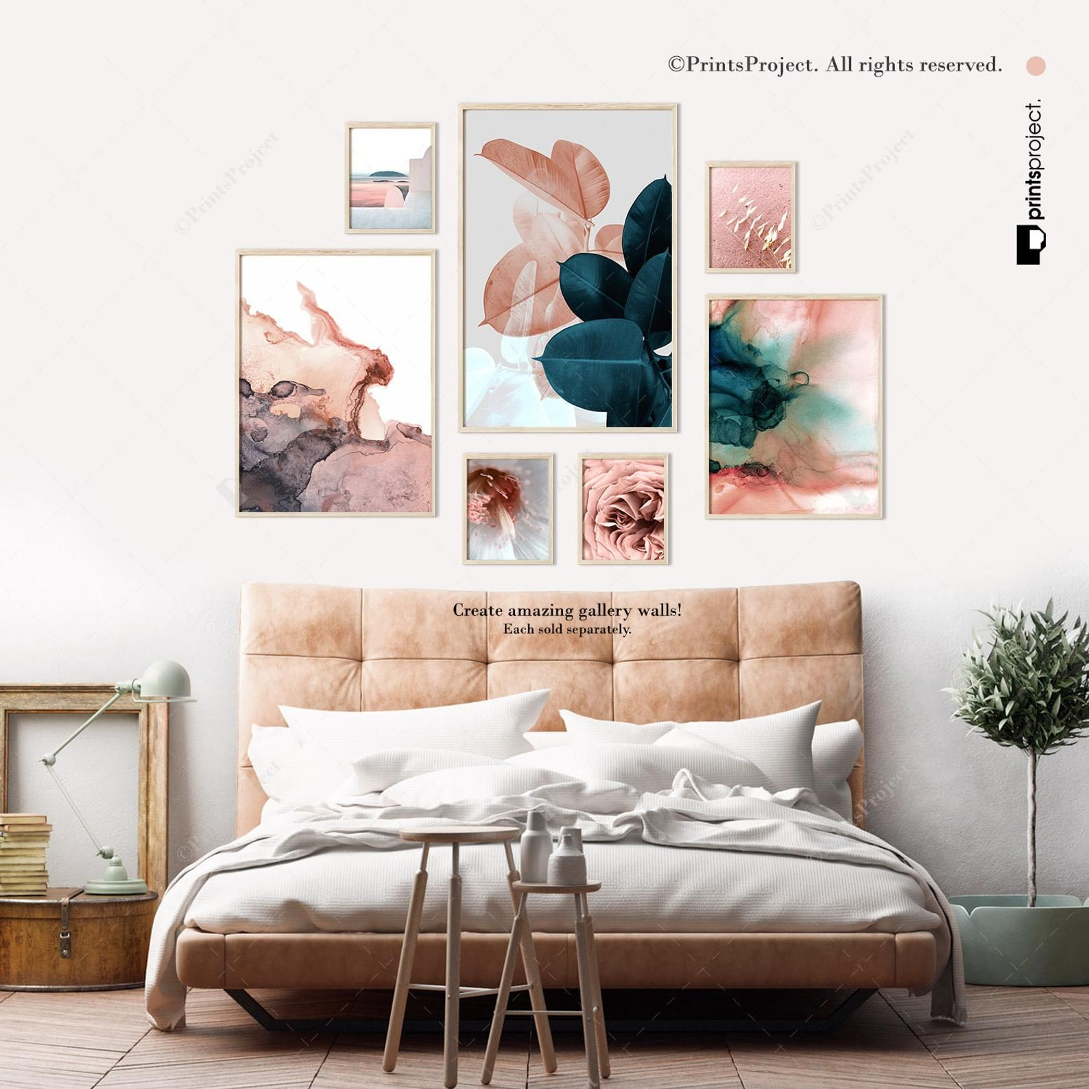 Blush Pink Leaves Above Bed Wall Art Wedding Gift Blue Plant Print Botanical Poster Tropical Leaf Digital Print Download Printable Art In 2020 Above Bed Decor Above Bed Bed Wall