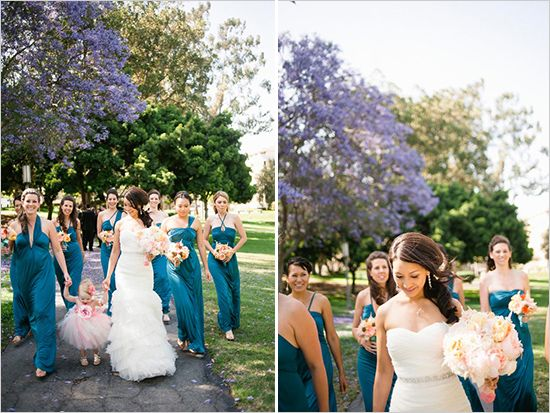 Peach and Teal Multicultural Wedding | Dark, Teal bridesmaid ...