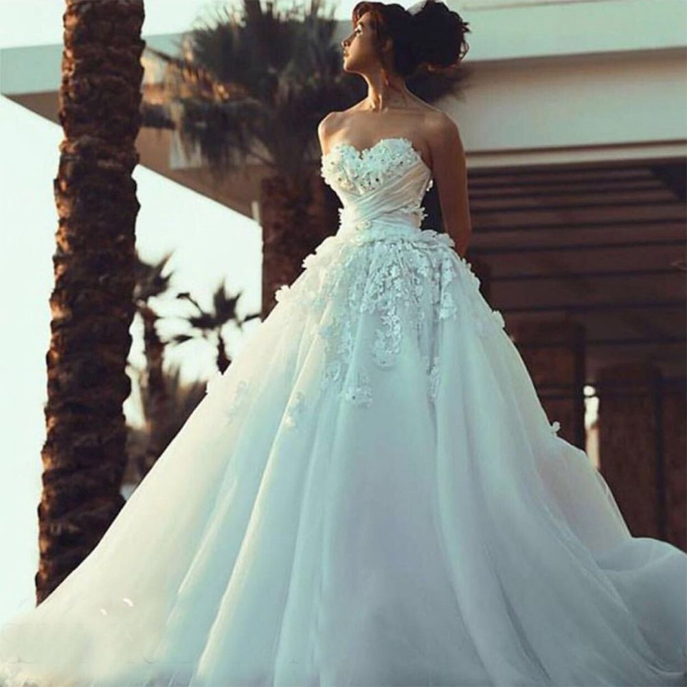 Click to buy ucuc ivory strapless beaded flowers wedding dresses long