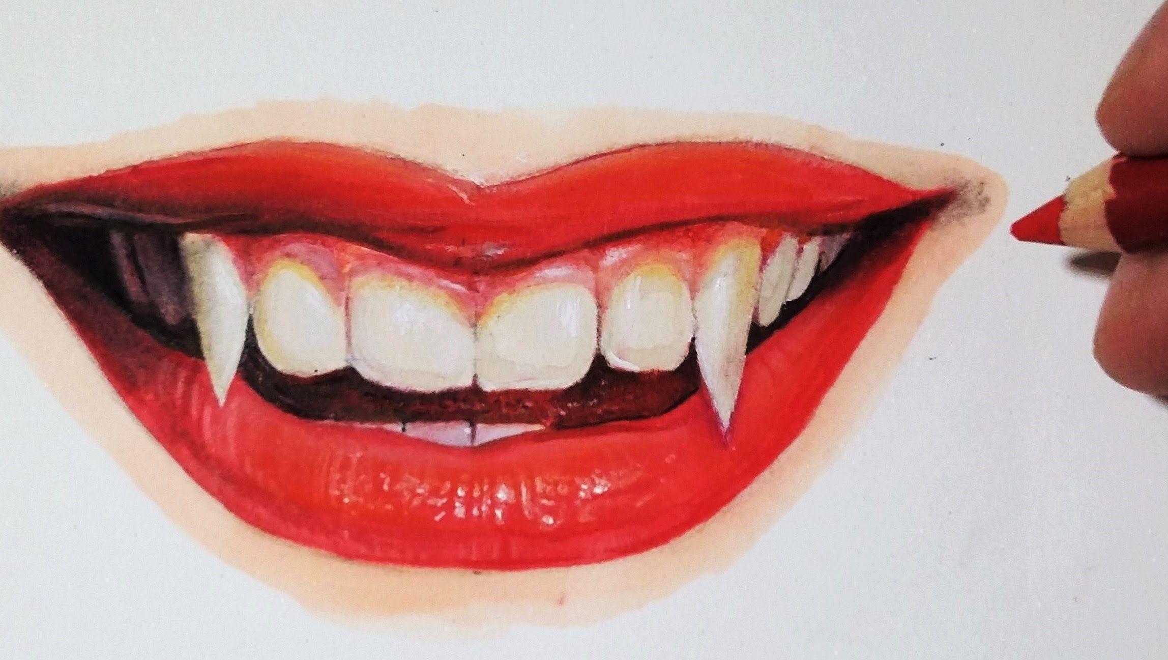 Comment Dessiner Une Bouche De Vampire Realiste Avec Levres Rouges