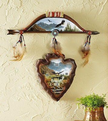 Native American Inspired Eagle & Wolf Arrow Head & Bow Wall Clock ...