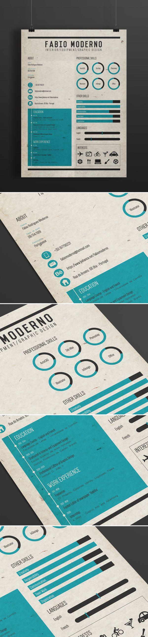 Curriculum Resume By Fabio Moderno Via Behance Portfolio