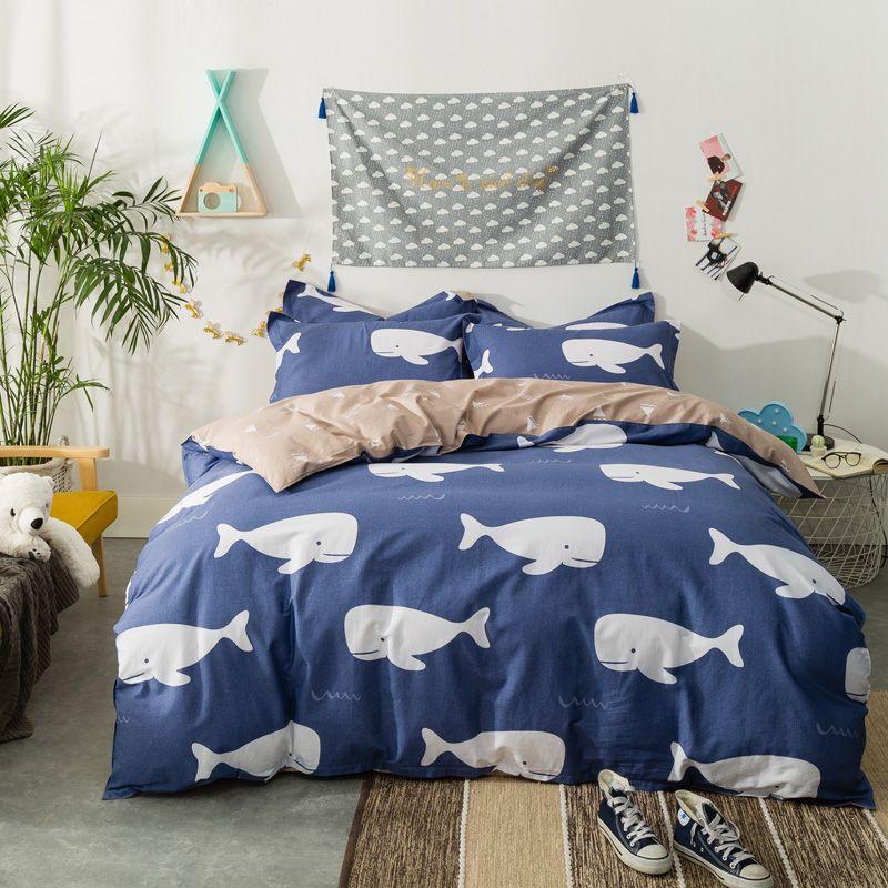 Yadidi Whale Cartoon Blue Bedding Set Sheet Pillowcase Duvet Cover Set Twin Queen King Size Boy Animal Beddi Blue Bedding Sets Blue Bedding Queen Bedding Sets