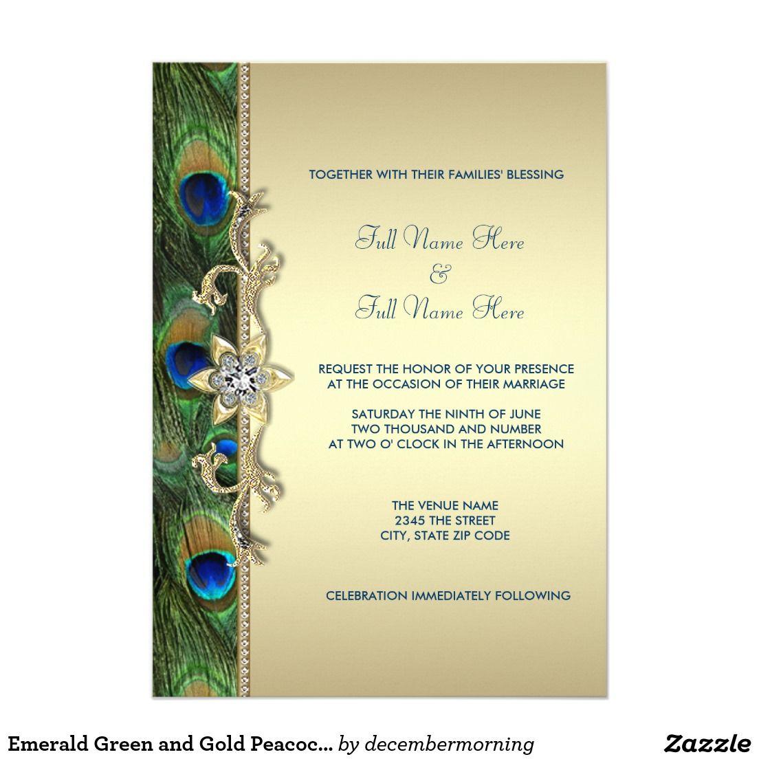 Emerald Green And Gold Peacock Wedding Card Peacock Wedding