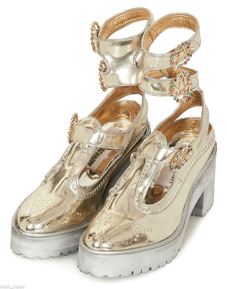 Meadham Kirchhoff for Topshop Chunky Gold Ankle Strap Brogue Shoes, Brand New!! #TopShop