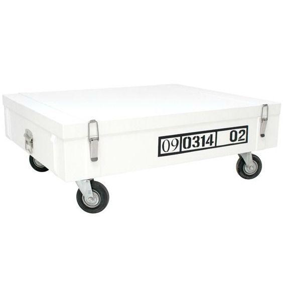 HK-living Salontafel op wielen hout wit/zwart 100x80x37cm barefootstyling.com